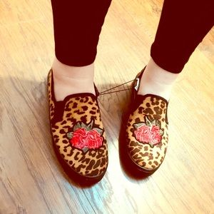 Leopard print board shoes with Rose